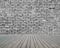 Bricks wall with wooden floor dirty old background Royalty Free Stock Images