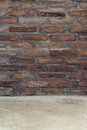 Brickwall as background for product placement texture with concrete floor mockups Royalty Free Stock Photo
