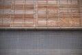 Brickwork and wooden facade symmetrical background empty copy space for editor s text Stock Photos