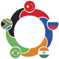 Brics symbol the association of emerging national economies brazil russia india china south africa Royalty Free Stock Photo