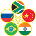 Brics symbol the association of emerging national economies brazil russia india china south africa Stock Photo