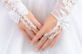 Brid s hands in white gloves Royalty Free Stock Photos