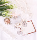 Bridal  accessories and banner add with flowers Royalty Free Stock Photography