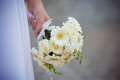 Bridal bouquet bride holding a of gerbera flowers Royalty Free Stock Images