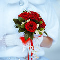 Bridal bouquet colorful and elegant wedding of red roses of the bride Royalty Free Stock Image
