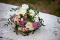 Bridal bouquet of cream and pink roses. floristry Royalty Free Stock Photo
