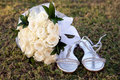 Bridal bouquet on the grass Royalty Free Stock Photo
