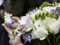 Bridal bouquet of lilac freesia and white roses Royalty Free Stock Images