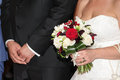 Bridal bouquet made from roses the bridegroom and bride Royalty Free Stock Image