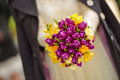 Bridal bouquet made of yellow and purple tulips Royalty Free Stock Photo