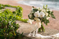 Bridal bouquet of orchids, ranunculuses, tulips and eucalyptus Royalty Free Stock Photo