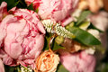 Bridal bouquet from pink pions and roses wedding Royalty Free Stock Photos