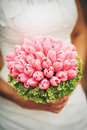 Bridal bouquet with pink tulips Royalty Free Stock Photo