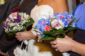 Bridal bouquets made with hortensia roses and orchid Stock Photos