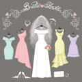 Bridal and bridesmaid dresses.Fashion background