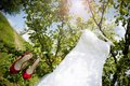 Bridal dress beautiful white wedding ready for bride Stock Photo
