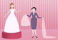 Bridal dress boutique illustration bride choosing wedding and veil assisted by saleswoman Stock Photography