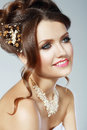 Bridal fashion woman portrait of beautiful wedding model advertising and commercial design shopping perfect hairstyle and make up Royalty Free Stock Photo
