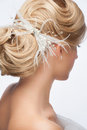 Bridal hairstyle portrait of attractive young woman with beautiful and stylish hair accessory rear view Stock Image