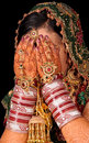Bridal hands on face Royalty Free Stock Photo