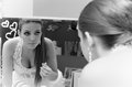 Bridal make up the bride applying her wedding black and white tone Stock Photography