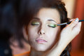 Bridal make up in the morning of wedding day Stock Image