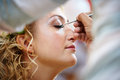 Bridal make up in the morning of wedding day Royalty Free Stock Photo