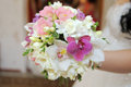 Bridal Orchid Bouquet Stock Photo