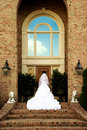 Bridal Portrait On Steps Back View Royalty Free Stock Photo