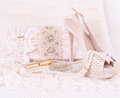 bridal shoes, bag and beads Royalty Free Stock Photo