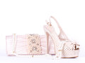 Bridal shoes, bag and beads Royalty Free Stock Image
