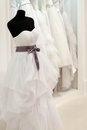 Bridal shop with mannequin dressed in wedding dress Royalty Free Stock Photo