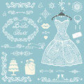 Bridal shower decoration set.Winter wedding Royalty Free Stock Photo