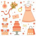 Bridal shower elements a beautiful items Stock Photography