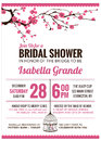 Bridal Shower Invitation card with cherry blossom