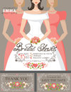 Bridal shower invitation set.Bride,bridesmaids
