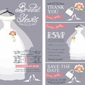 Bridal shower invitation.Wedding dress,bouquet Royalty Free Stock Photo