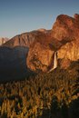 Bridal veil fall at sunset at yosemite national park in california Stock Photo