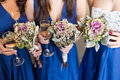 Bridal wedding flowers and brides bouquet closeup Royalty Free Stock Photo