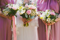 Bridal wedding flowers and brides bouquet Royalty Free Stock Photo