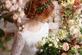 Bride among autumn flowers Royalty Free Stock Photo