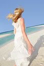 Bride beautiful beach wedding dancing Stock Photo