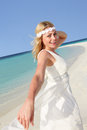 Bride beautiful beach wedding smiling Royalty Free Stock Photos