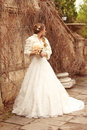 Bride beautiful woman in wedding dress - outdoor portrait Stock Image