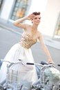 Bride on the bike modern Royalty Free Stock Photo