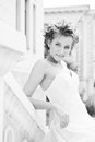 Bride black and white photo of a pretty Royalty Free Stock Image