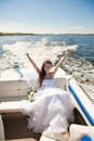 Bride on the boat a Royalty Free Stock Images