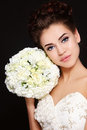Bride with bouquet Stock Images