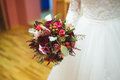 Bride with Bouquet at Home Royalty Free Stock Photo