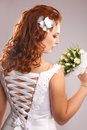Bride with bouquet profile of beautiful red hair Royalty Free Stock Photos